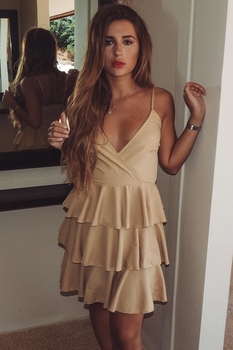 DANI DYER STONE TIERED FRILL CAMI DRESS