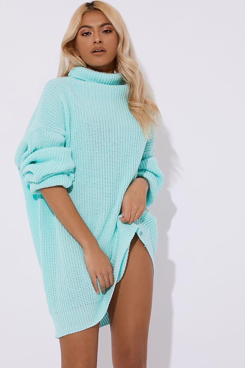 aqua cowl neck oversized jumper dress