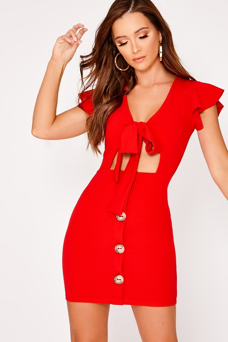 LELE RED TIE FRONT BUTTON DOWN DRESS