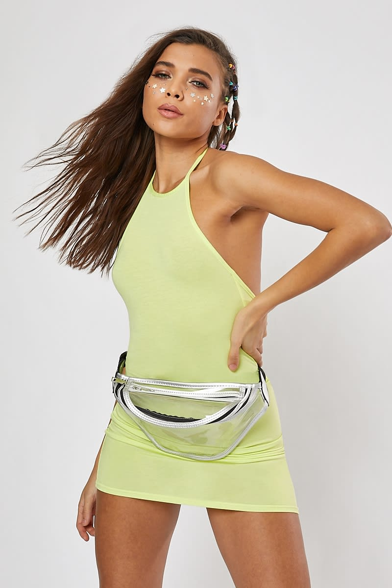 BASIC LIME JERSEY HALTERNECK BODYCON DRESS