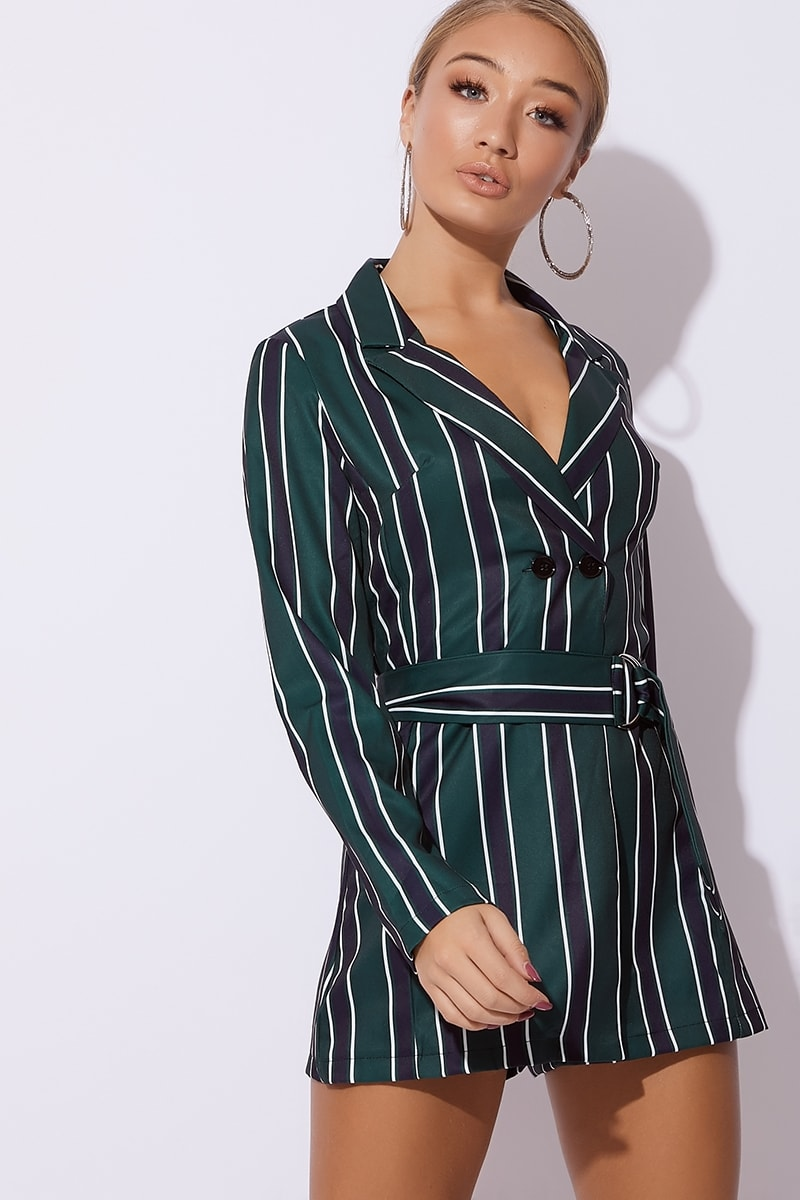 green striped belted blazer playsuit