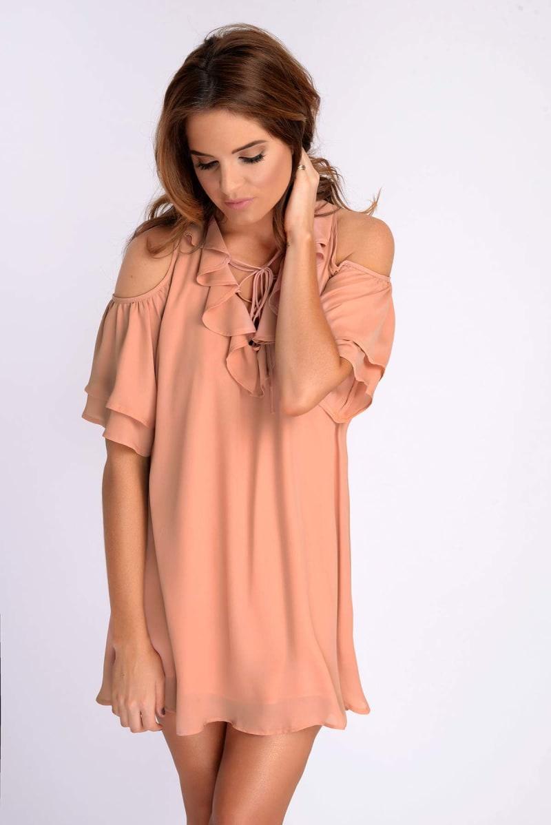 Binky Blush Frill Tie Front Cold Shoulder Dress