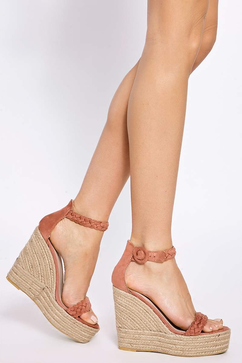 ALLERIE PINK PLAITED ANKLE SUEDE WEDGES