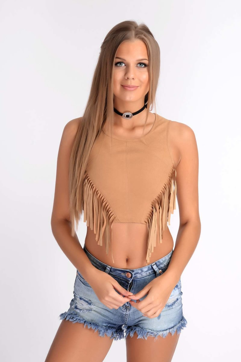 tan faux suede fringed top