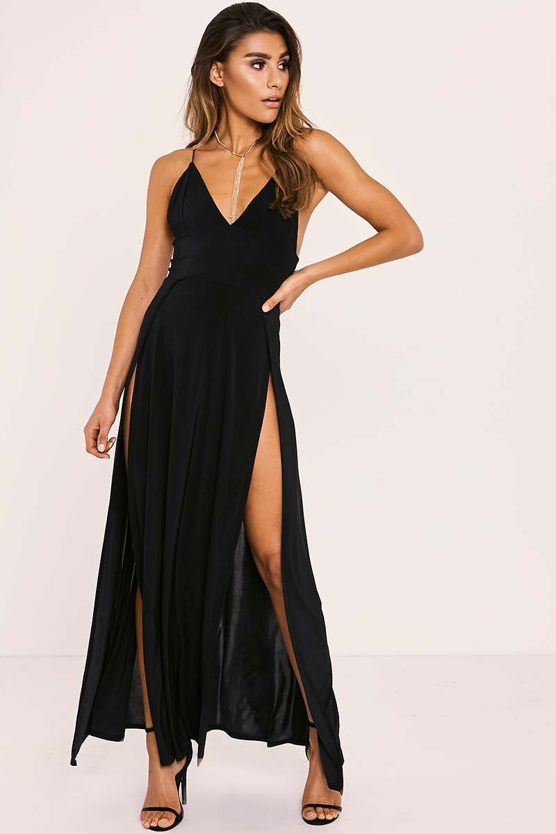 IZABELLE BLACK SPLIT FRONT SLINKY MAXI DRESS
