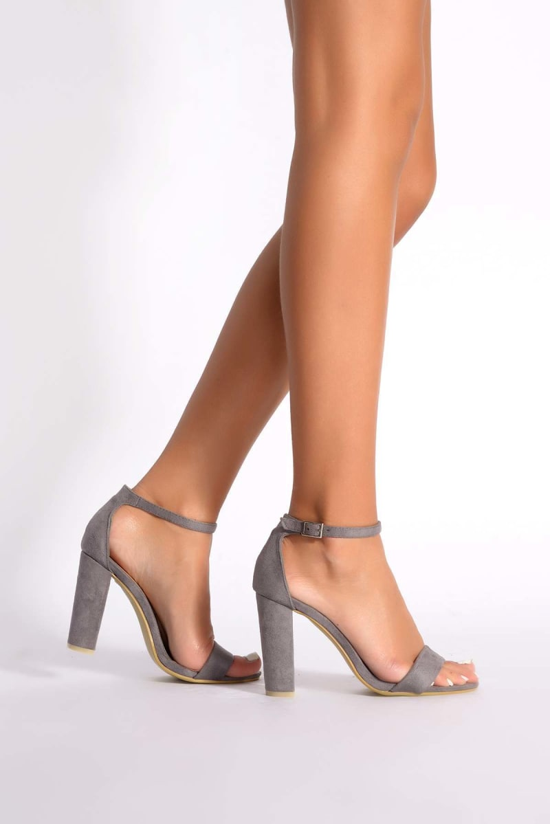 grey faux suede ankle strap barely there heels