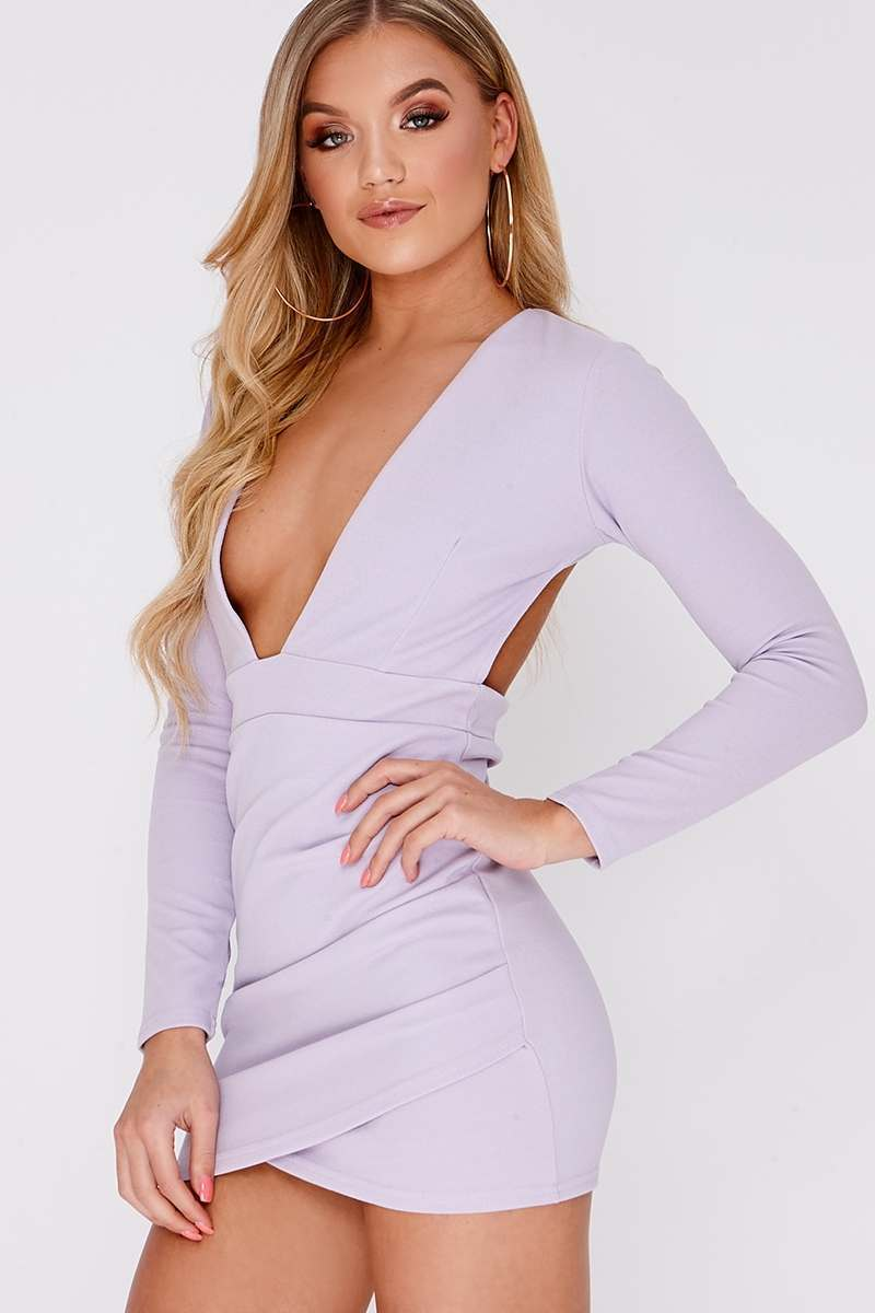 BETSEY LILAC PLUNGE BACKLESS LONG SLEEVE DRESS