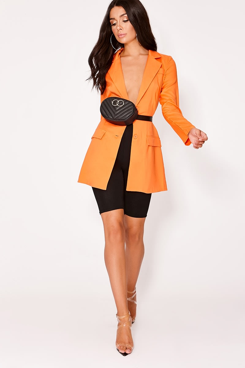 DYLYNN ORANGE PLUNGE STRUCTURED LONGLINE BLAZER