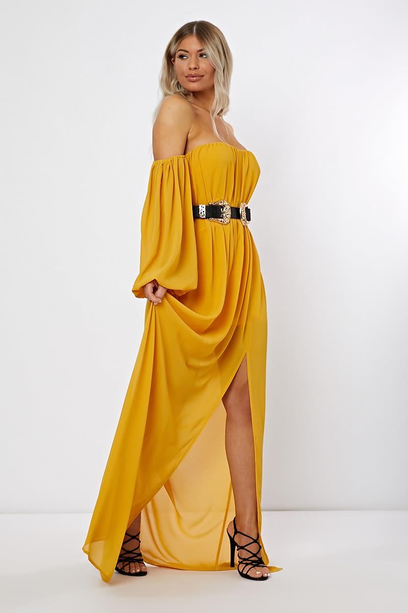 mustard bardot western belted split front maxi dress