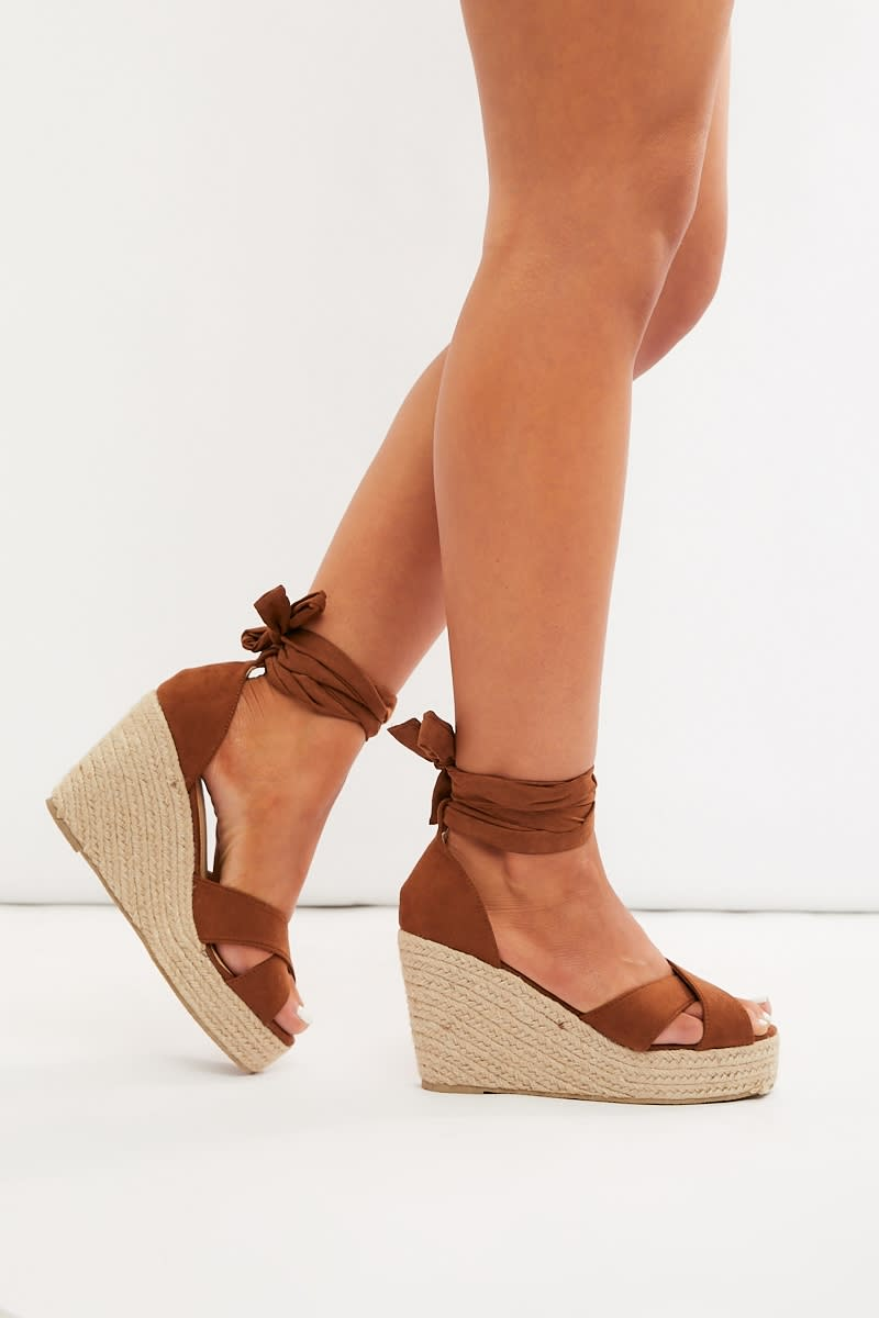 tan faux suede cross strap multi tie wedges