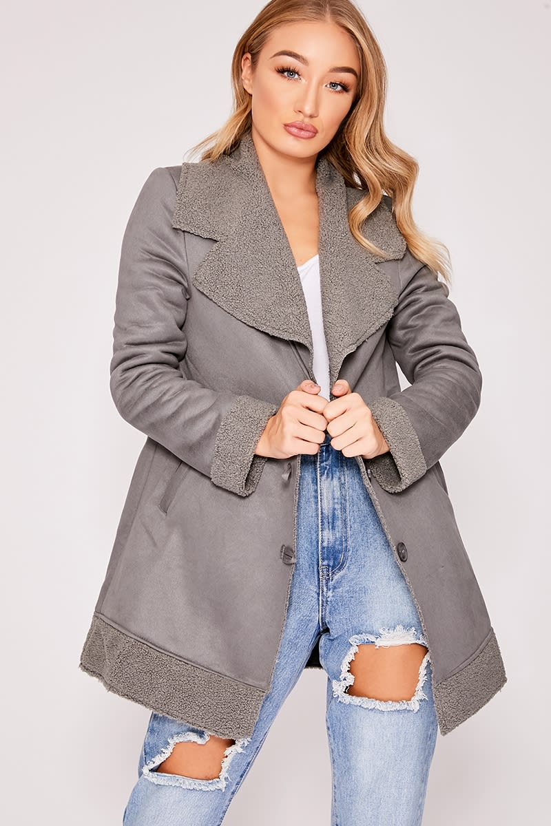 grey faux suede shearling lined jacket