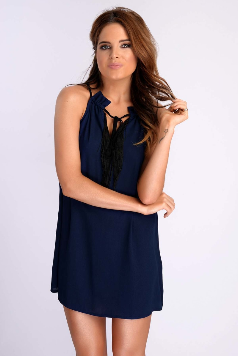 Binky Navy Fringe Tie Neck Dress