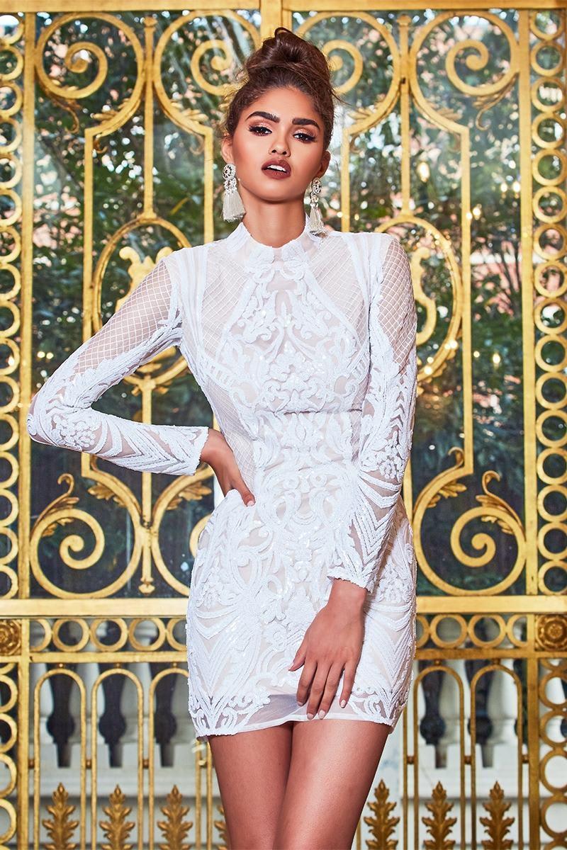 PREMIUM WHITE HIGH NECK PLACEMENT SEQUIN BODYCON DRESS