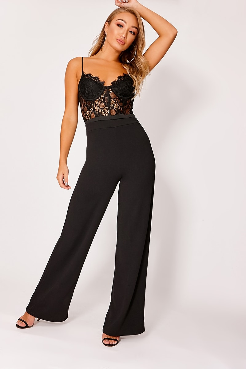 HANELLA BLACK CREPE WIDE LEG TROUSERS