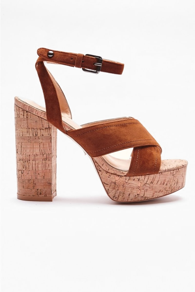 SAIDIA TAN FAUX SUEDE CROSS STRAP HEELS