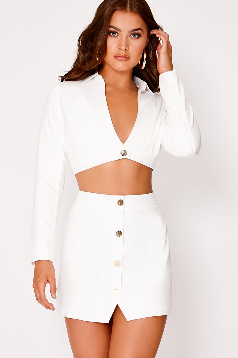 Runal WHITE BUTTON DETAIL MINI SKIRT