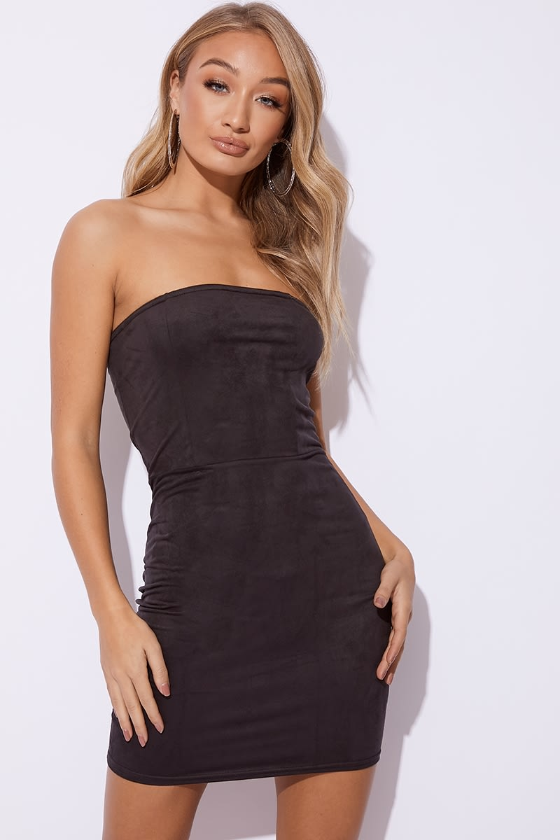GEMINI BLACK FAUX SUEDE BANDEAU DRESS