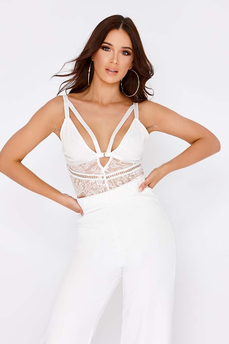 KAELENE WHITE HARNESS LACE BRALET