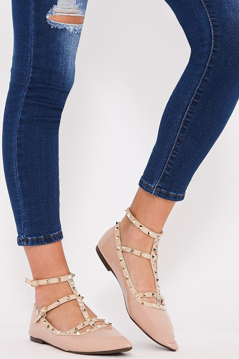 nude studded ankle strap pointed flats