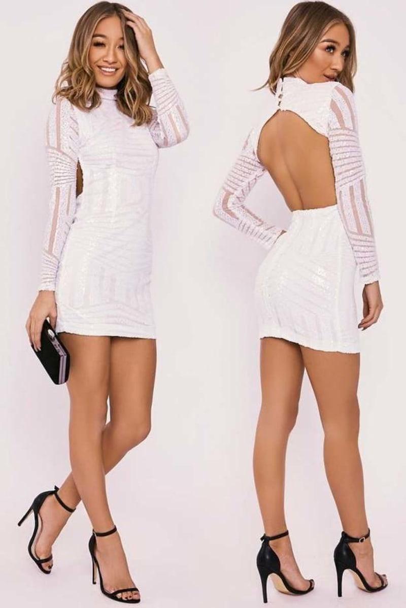 ALAINE WHITE SEQUIN PANELLED BACKLESS LONG SLEEVE DRESS