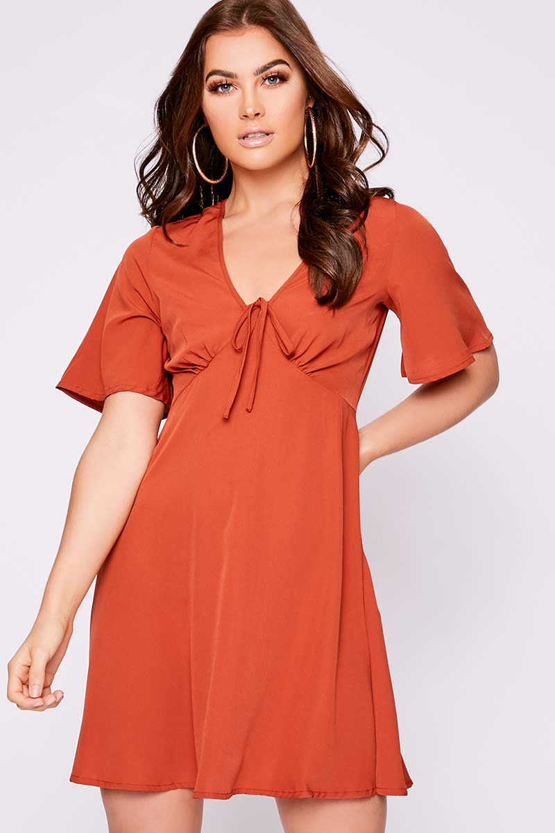 rust tie detail swing dress