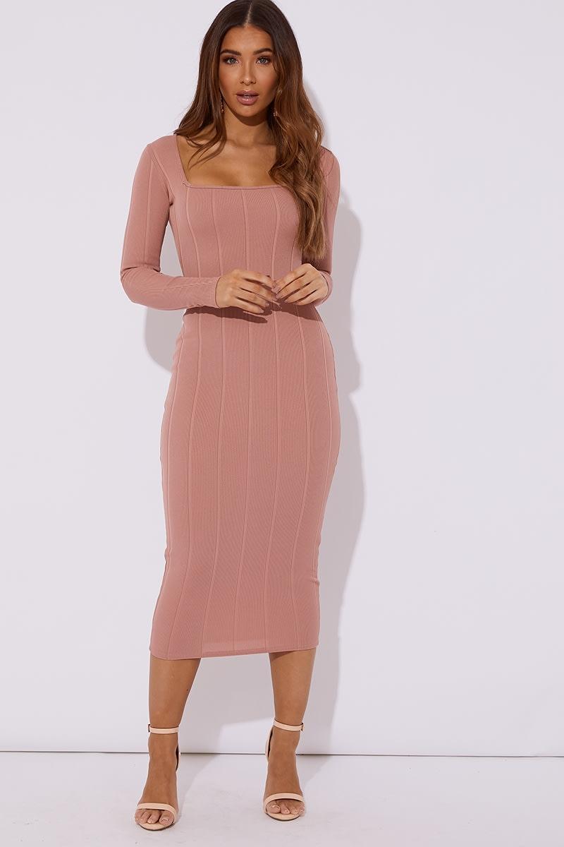 blush bandage square neck midaxi dress