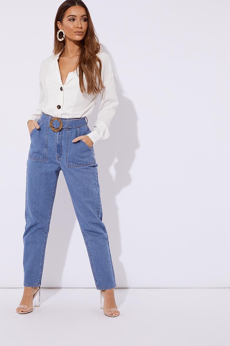 blue denim horn buckle detail mom jeans