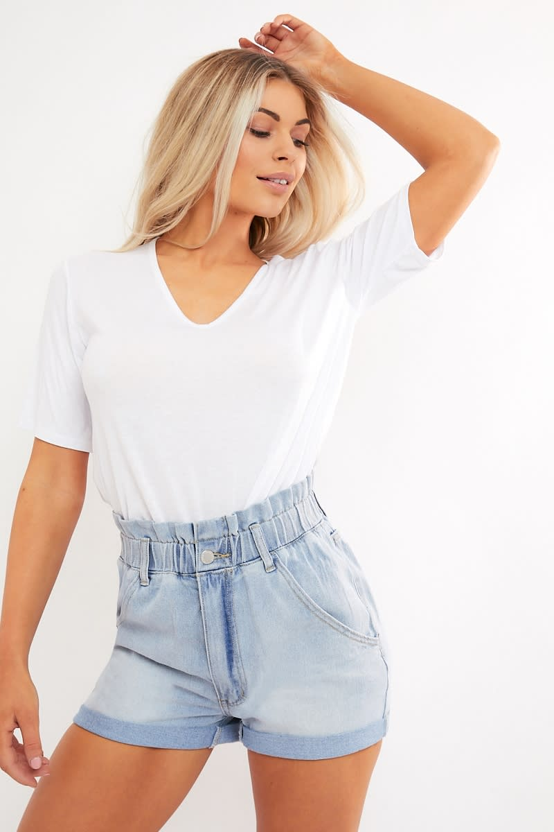 blue bleach wash paperbag waist denim shorts