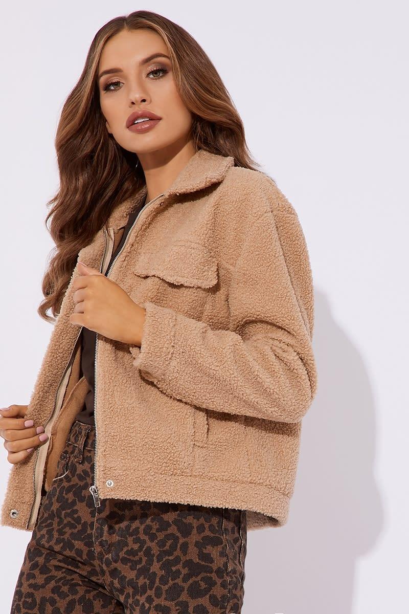 camel longline trucker jacket