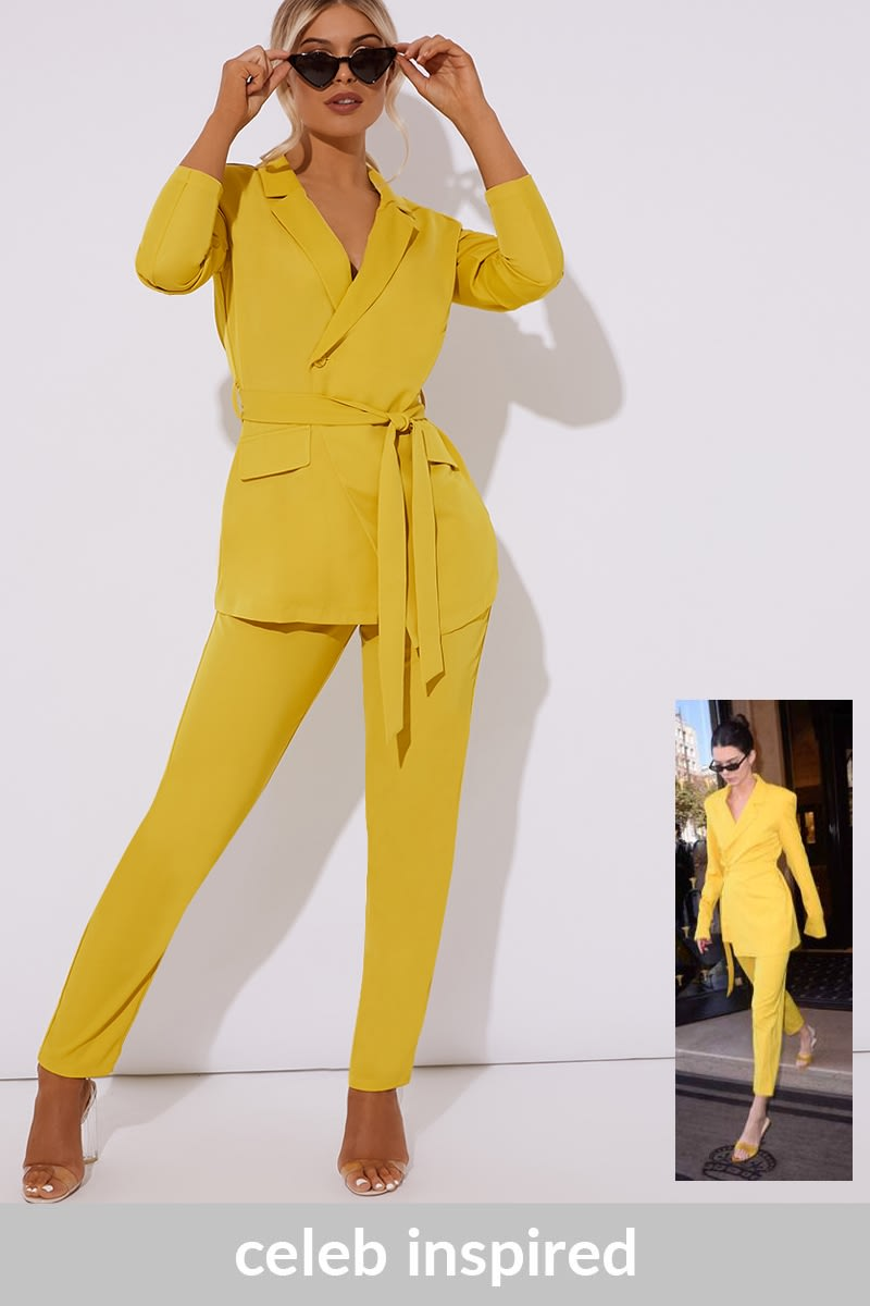 chartreuse tie side co-ord blazer