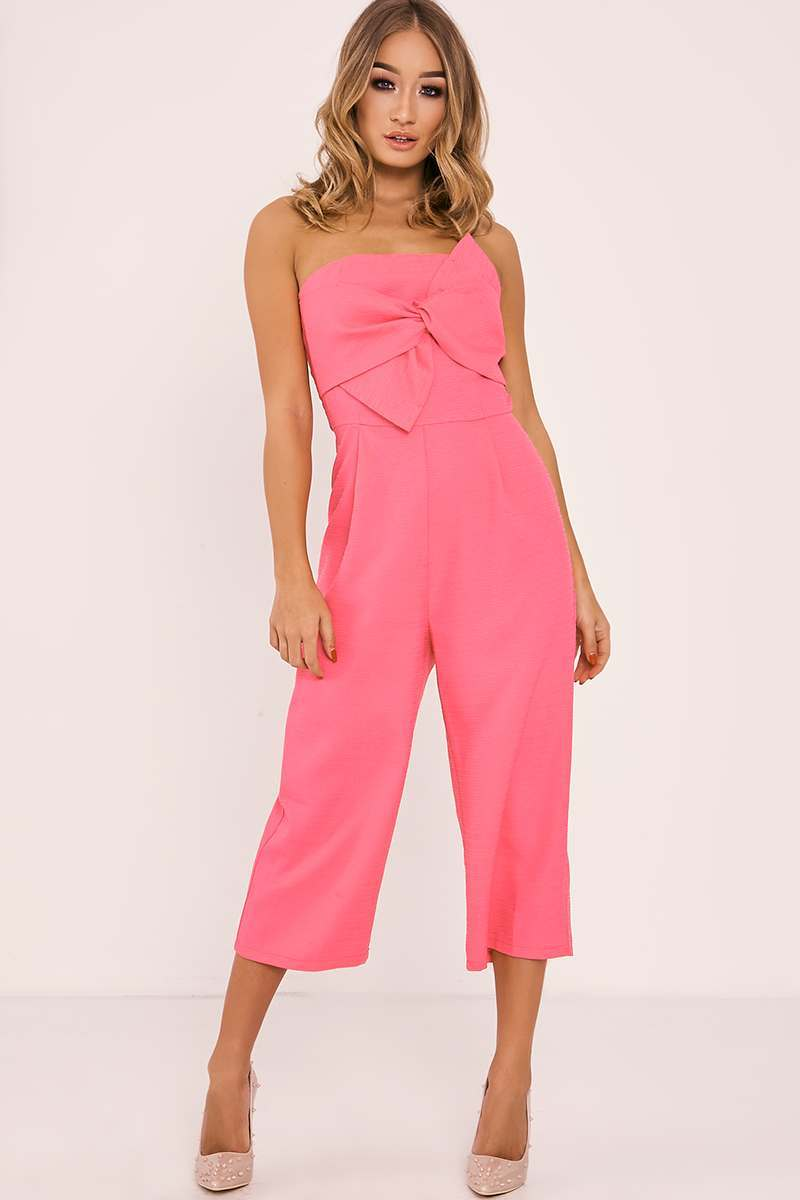 fuchsia textured bow front culotte jumpsuit