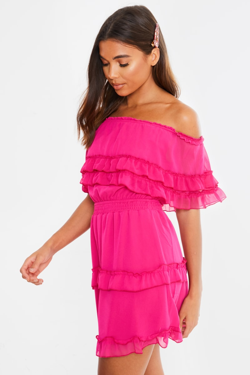 pink lace trim bandeau mini dress