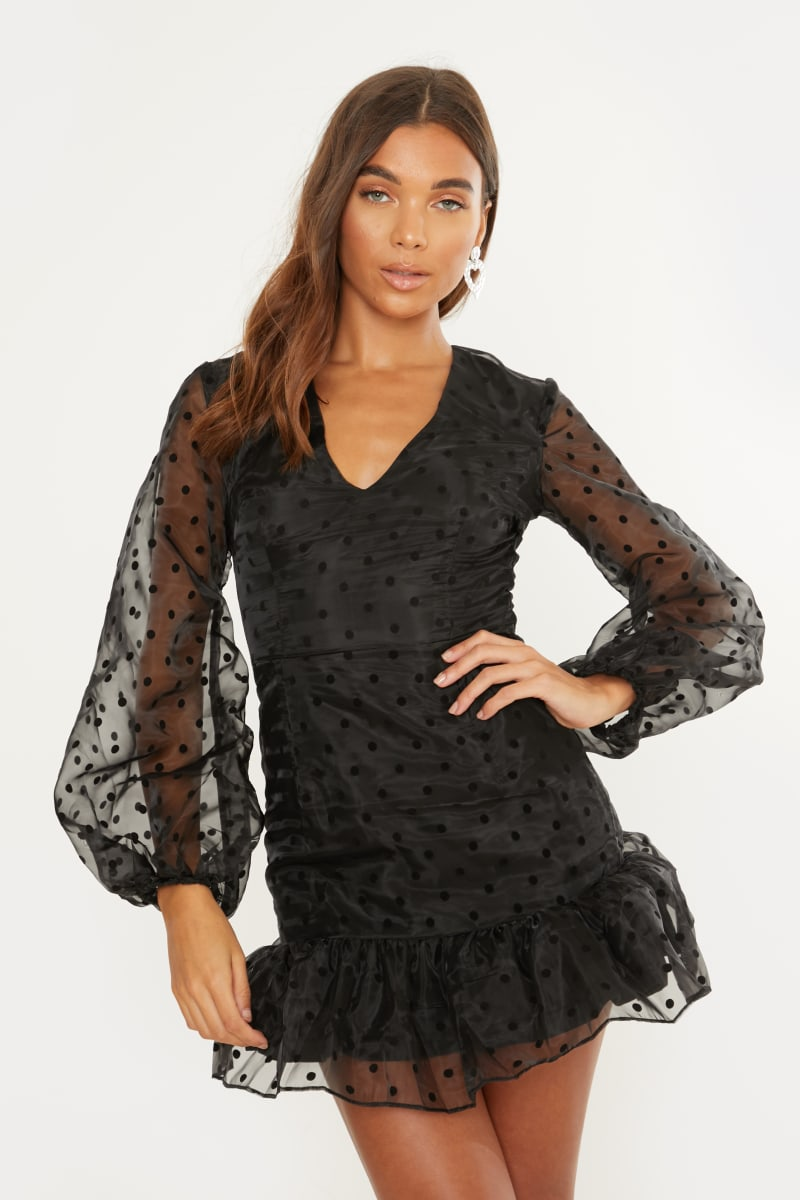 black polka organza puff sleeve dress