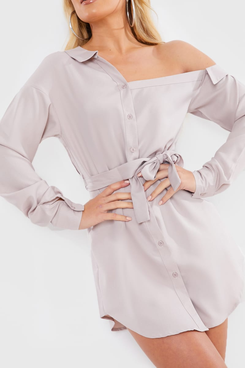 STONE ASYMMETRIC SHIRT DRESS