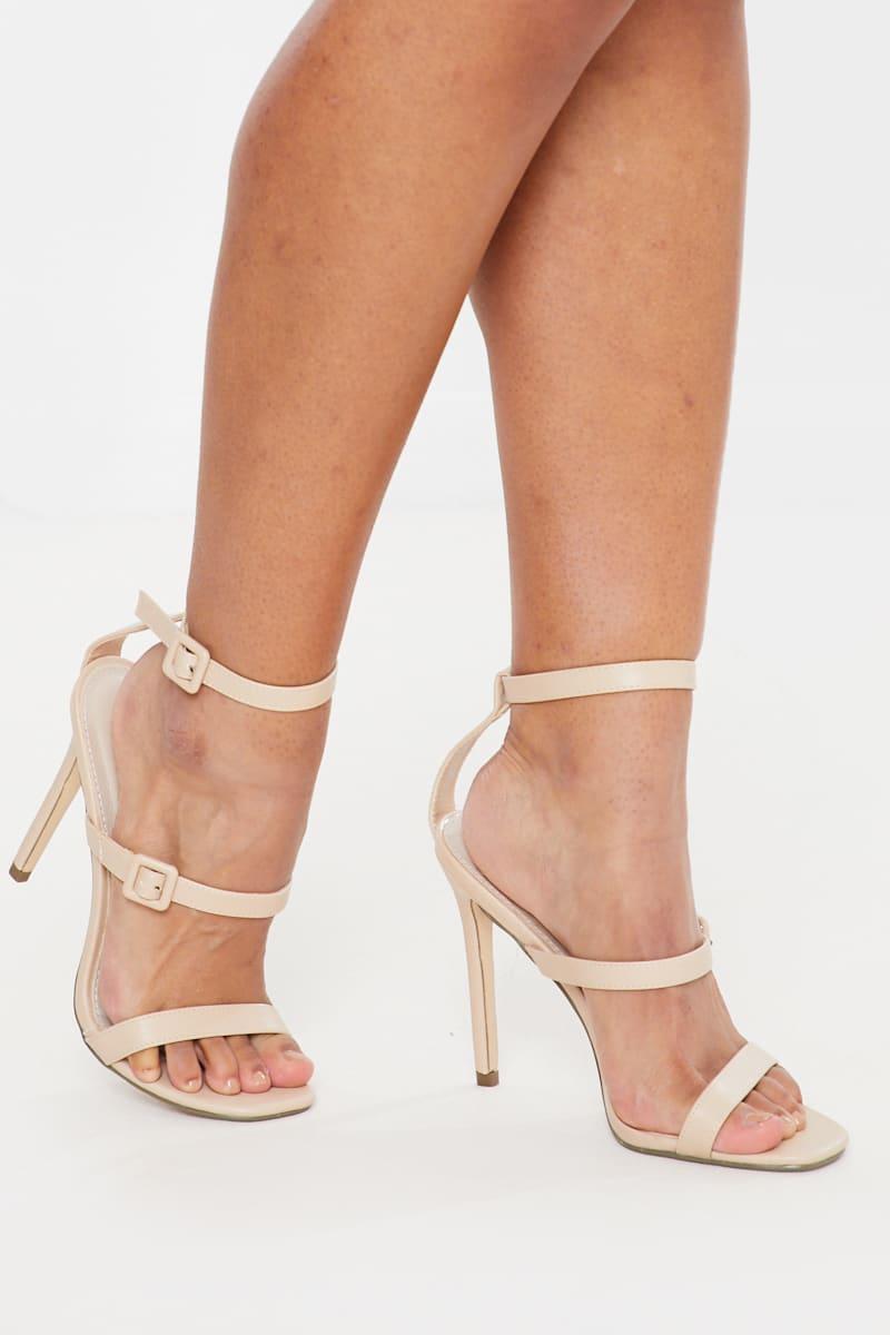 nude buckle triple strap heels