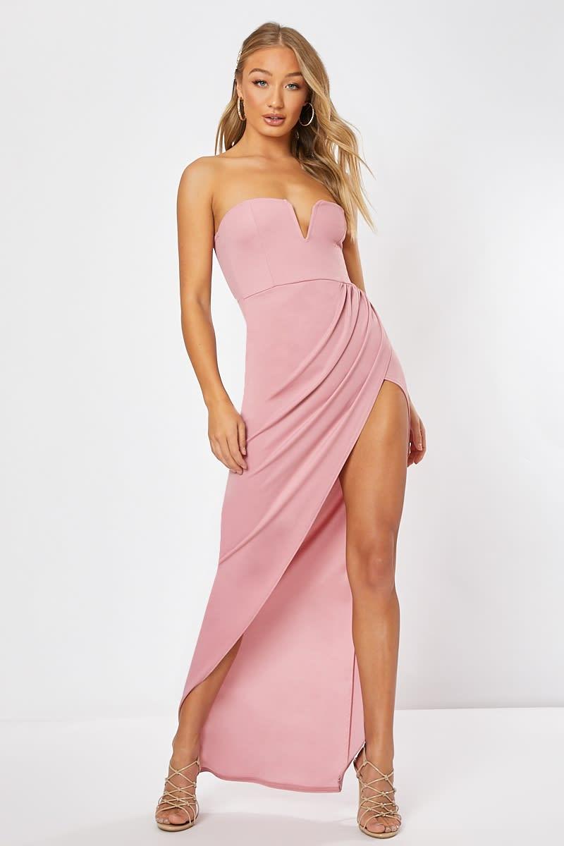 pink split front maxi dress