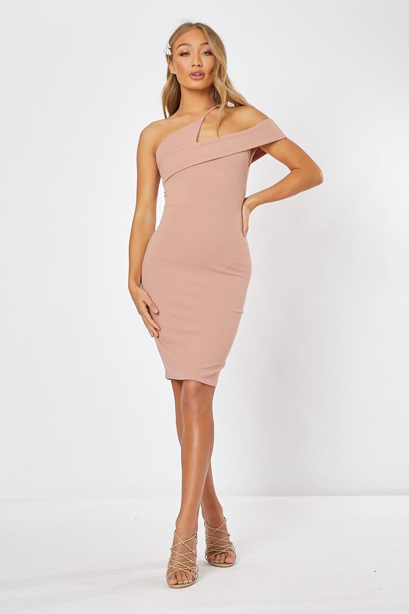 nude asymmetric neck midi dress