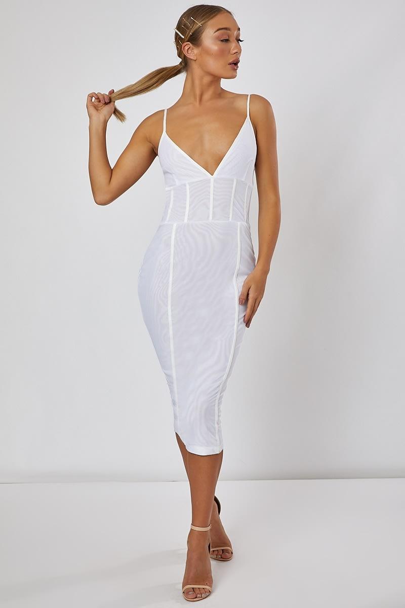white mesh panelled midi dress