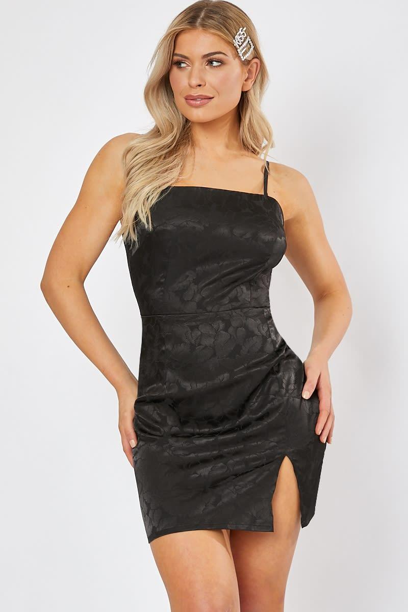 black jacquard square neck cami dress
