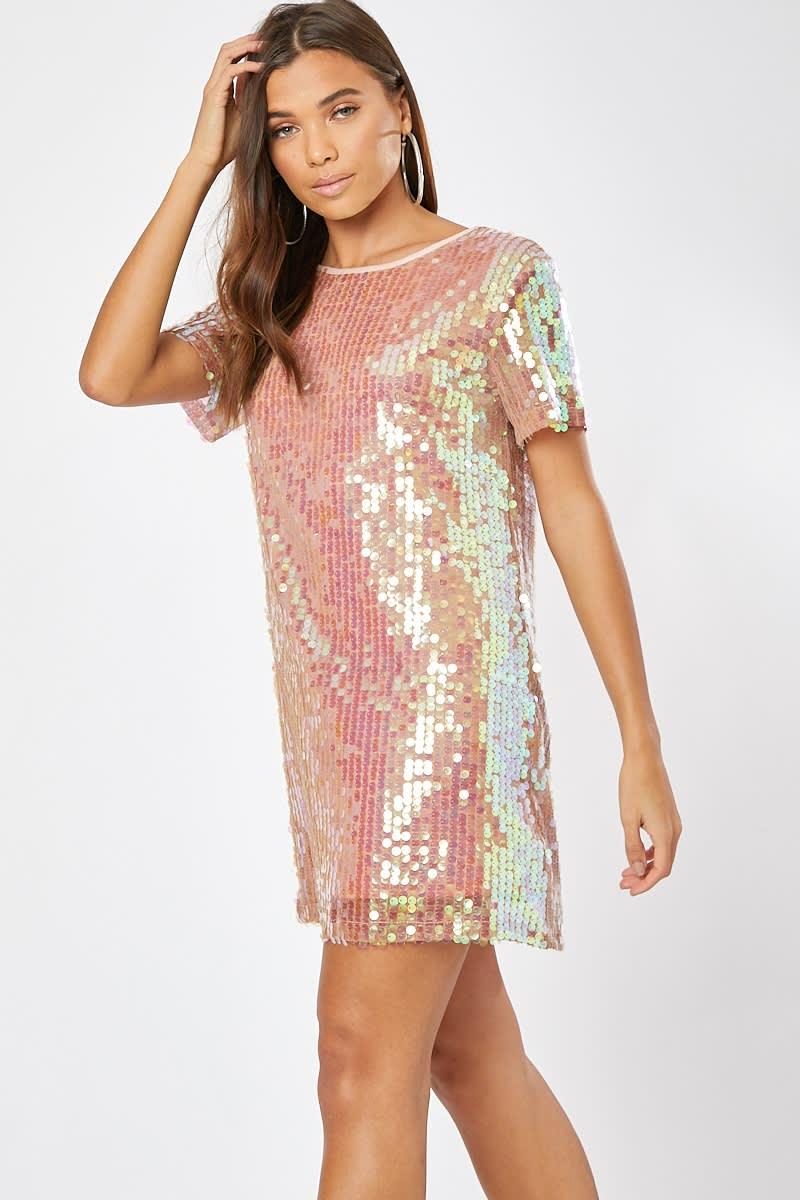 pink sequin t shirt dress