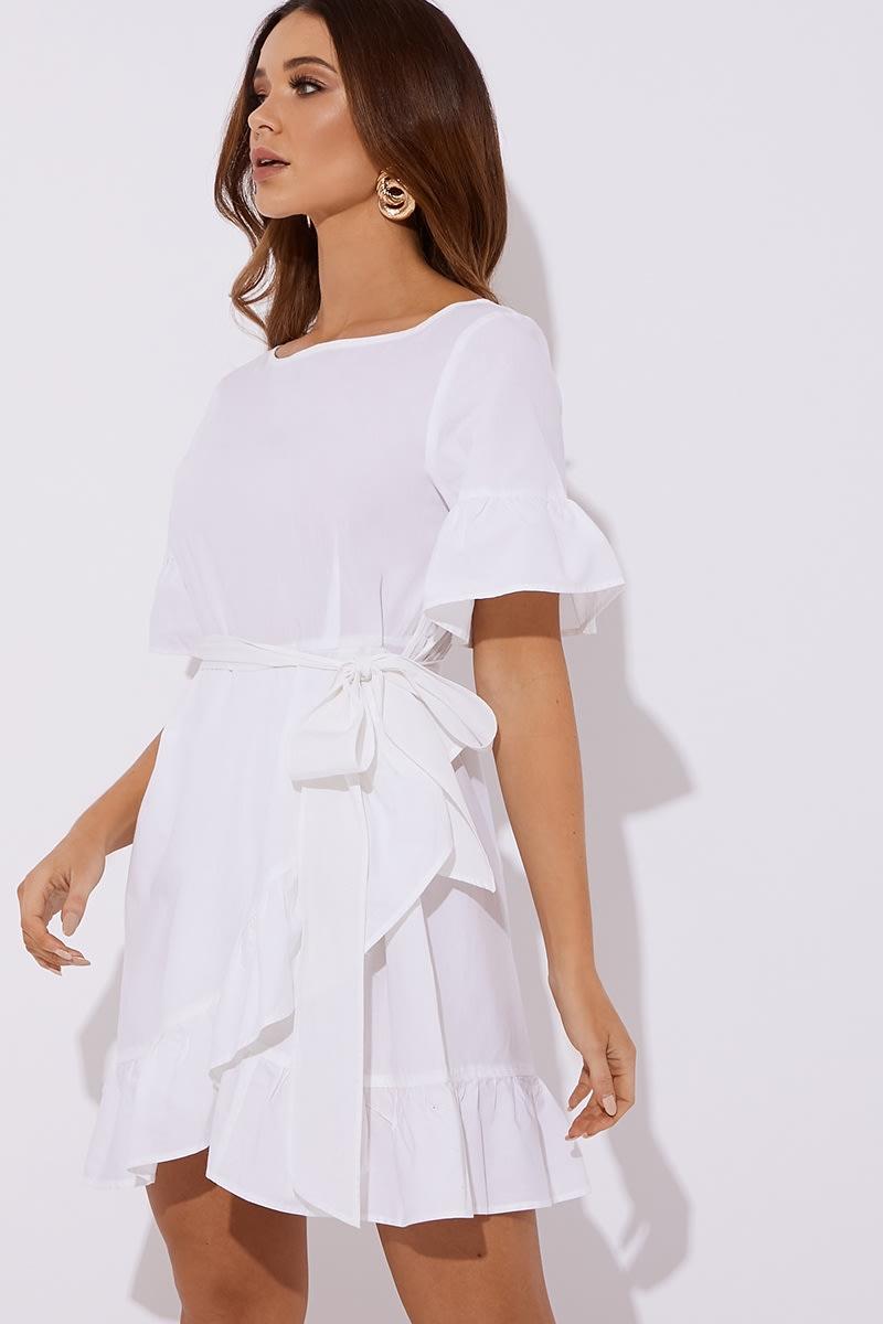 white cotton poplin frill tie waist mini dress