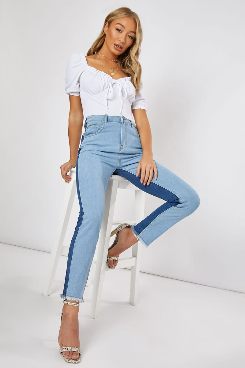 blue colour block frayed hem jeans