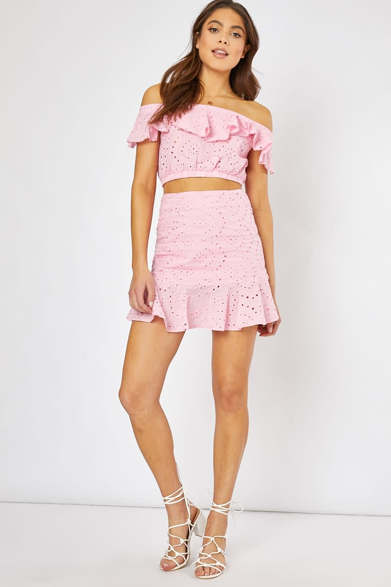 pink frill hem detail co-ord mini skirt