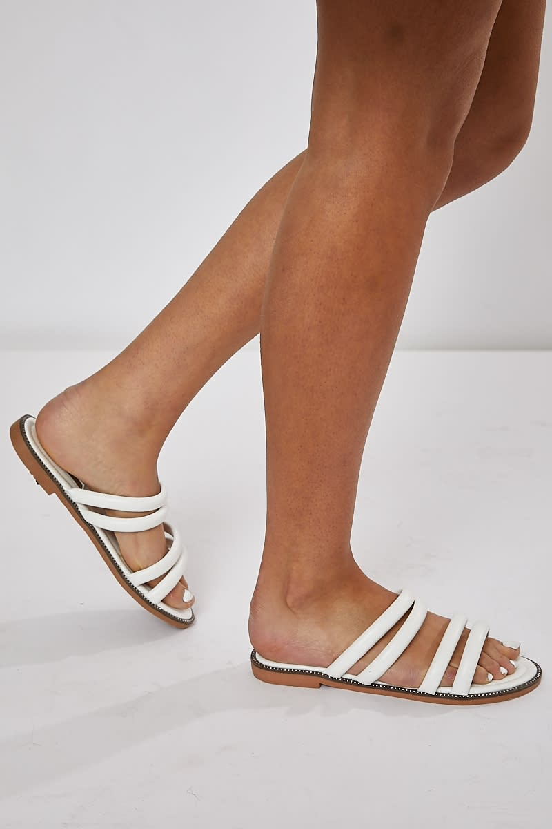 white double strap sliders