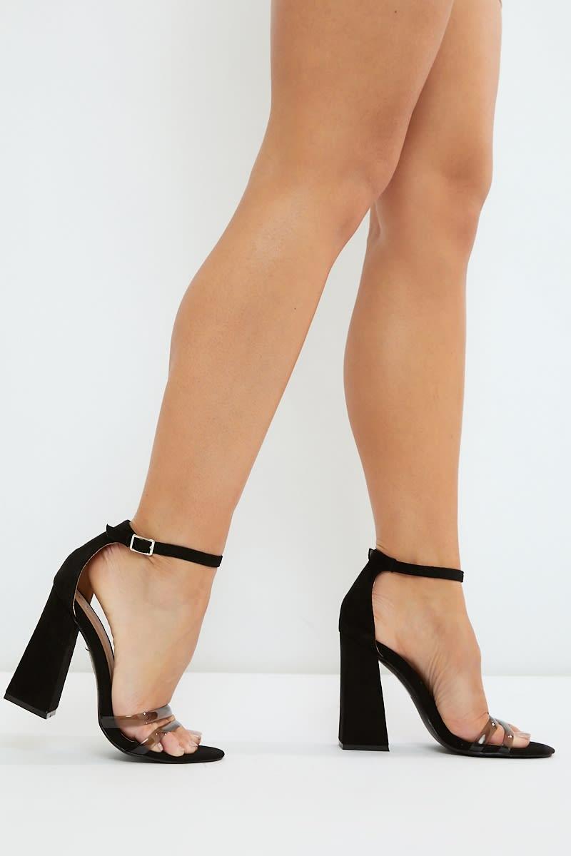 black clear strap block heels