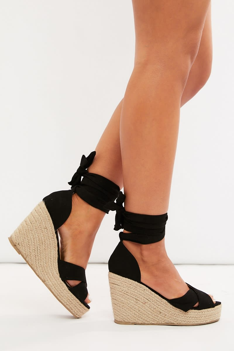 black faux suede cross strap multi tie wedges