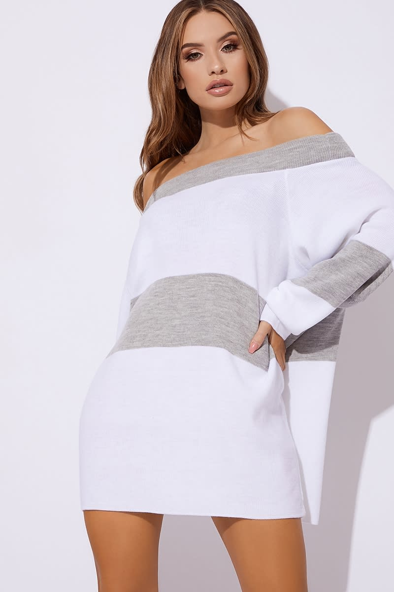 fashion styles exceptional range of styles and colors superior performance DANI DYER GREY BARDOT STRIPED JUMPER DRESS