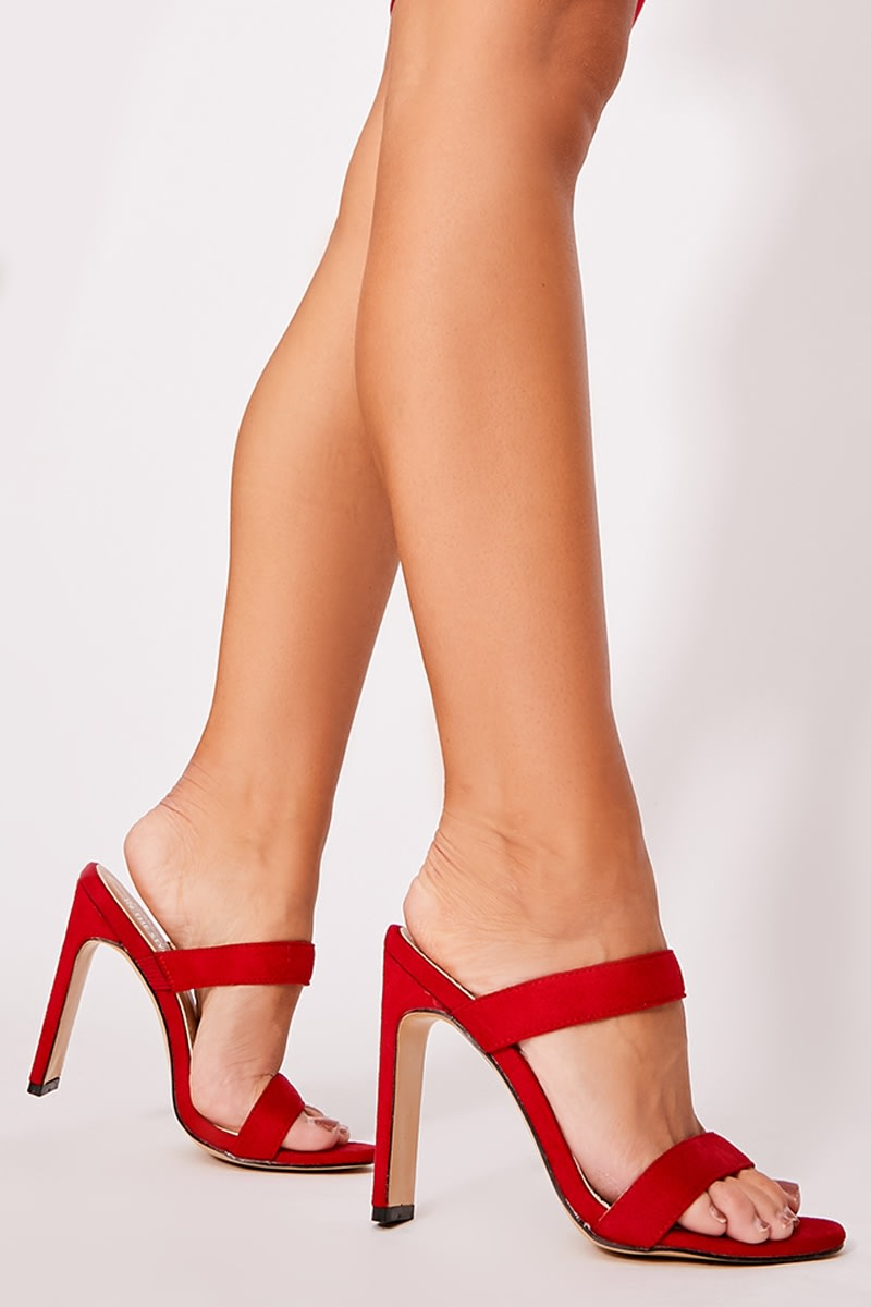red faux suede double strap mules