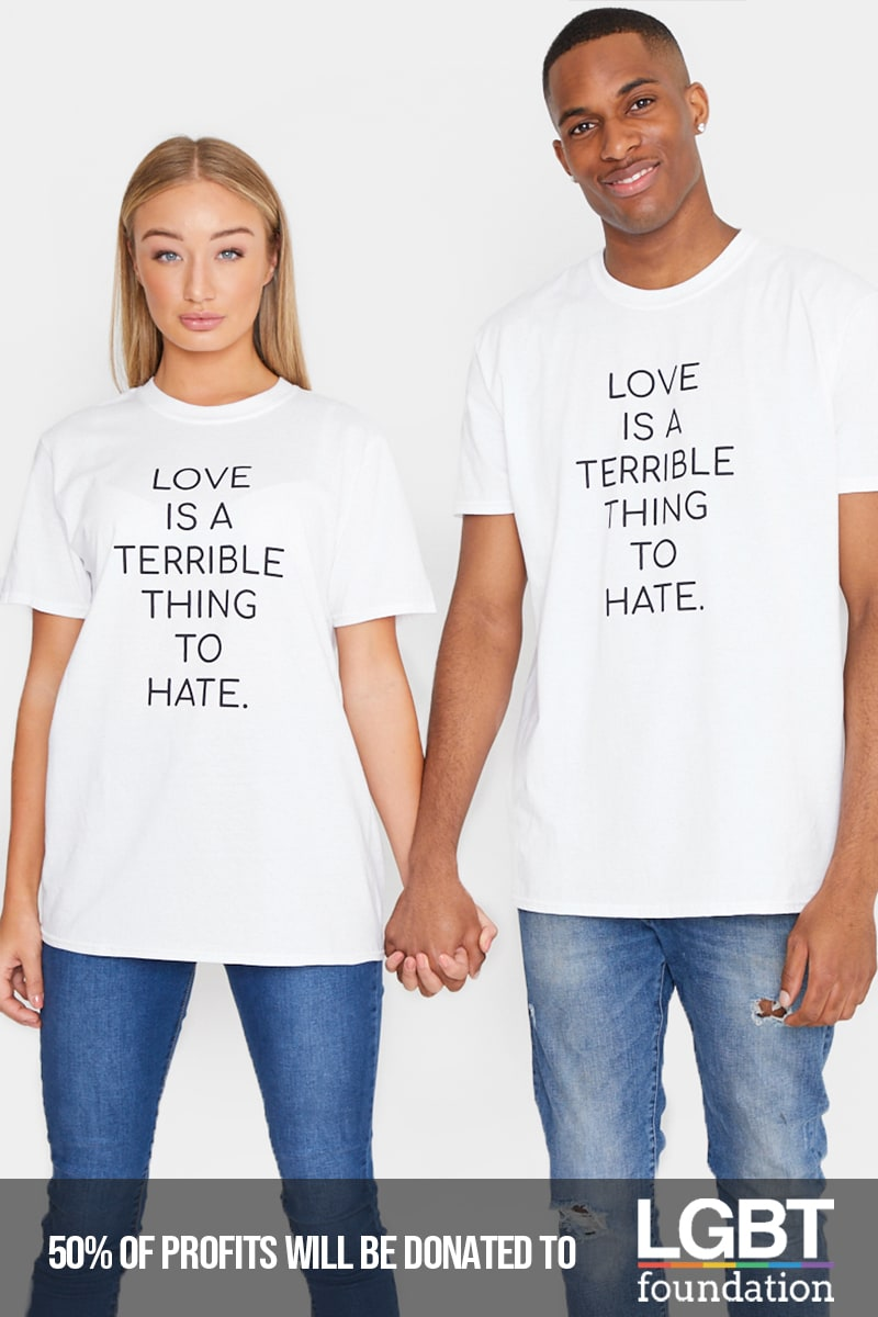 PRIDE LOVE IS A TERRIBLE THING TO HATE WHITE T SHIRT