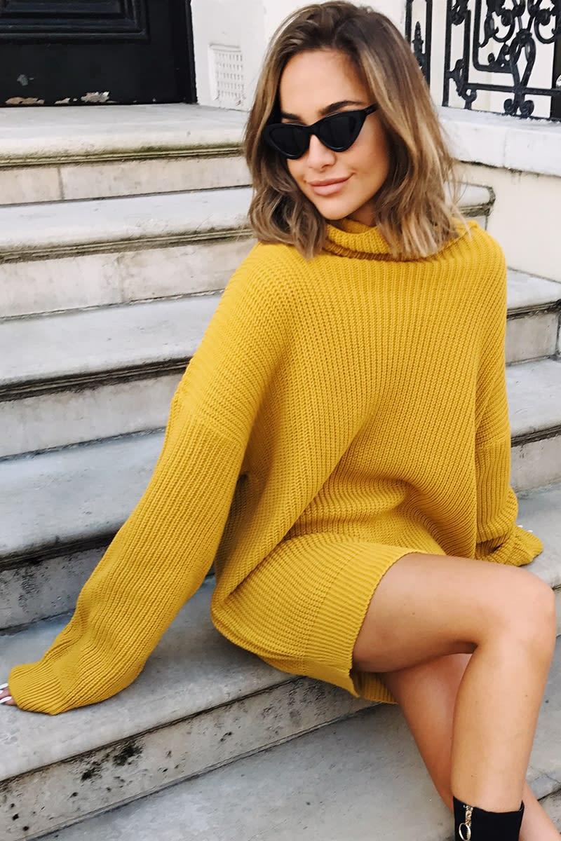 mustard cowl neck oversized jumper